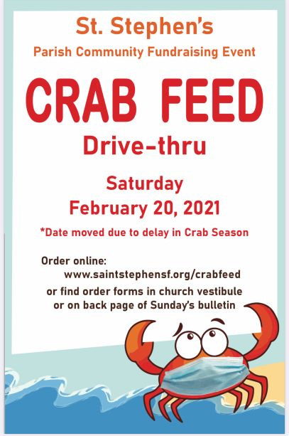 Crab Feed Drive-thru - crab holding up sign